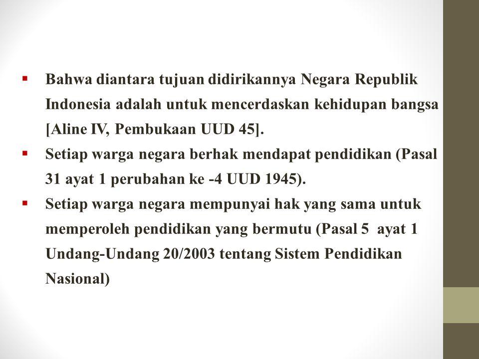 Bahwa diantara tujuan didirikannya Negara Republik Indonesia adalah untuk mencerdaskan kehidupan bangsa [Aline IV, Pembukaan UUD 45].